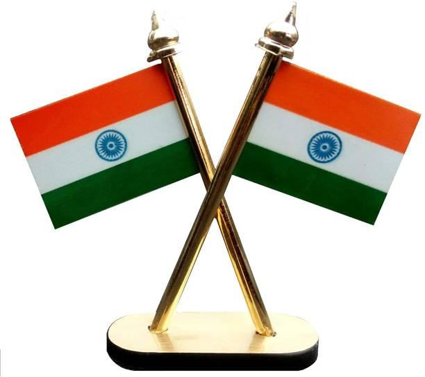 goldy traders Indian Flag Rectangle Car Dashboard Flag Flag