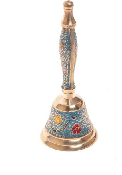 Fashion Bizz Pure Brass 7 Inch Hand Held Temple Pooja Big Bell Brass Pooja Bell