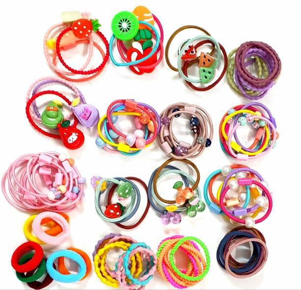 RAINBOW RETAIL 100 Fancy Pieces Elastic Hair Ties Mini Hair Bands Tiny Rubber Bands Colored Girls Ponytail Holders for Baby Kids Hair Band