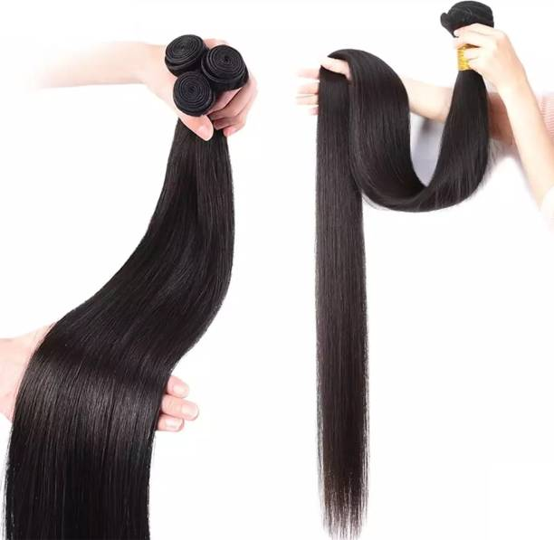 BELLA HARARO Straight Weft Bundle Synthetic  Extension for Women 28 inch (Natural Black , 300 gram)-Pack Of 3 Hair Extension
