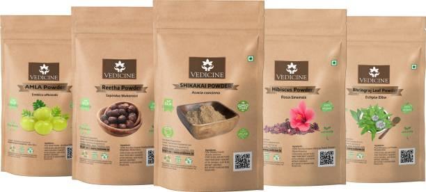 VEDICINE Amla Reetha Shikakai Hibiscus and Bhringraj Powder For Hair Pack (40g each)