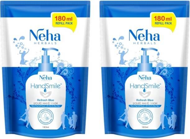 Neha Herbals Blue Handwash - 180 ml (Pack of 2) Hand Wash Refill Pouch