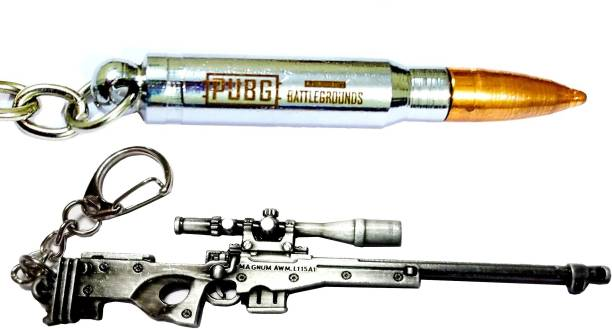 eweft Pubg AWM Gun Keychian & Steel Bullet Exclusive Premium Quality Metallic Keychain Player Unknown Battle Ground AWM Keychain PUBG Gun Sniper Key Ring / Key Chain Key Chain