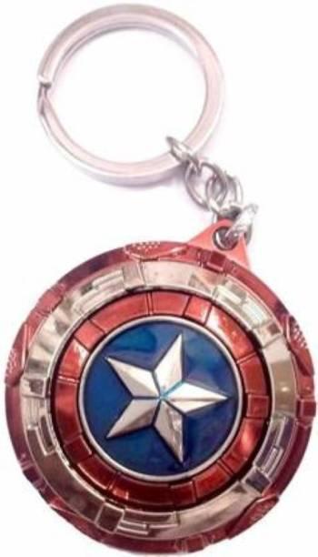 eweft Rotating Captain America Shield Keyrings & Keychains Key Chain Marvel Superhero Avengers Key Chain