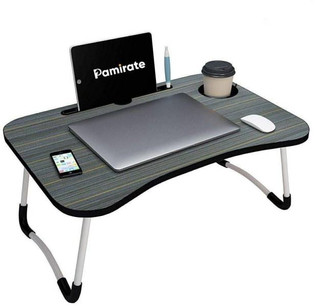 PAMIRATE Foldable Bed Study Table Portable Multifunction Laptop Table Lapdesk for Children Bed Foldabe Table Work Office Gaming Home with Tablet Slot & Cup Holder Bed Study Table Laptop Stand