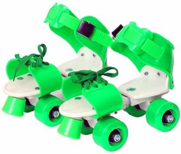 Toyporium Roller Skates Shoes For Kids / Childrens - UNISEX Quad Roller Skates - Size 5-9 UK Green Quad Roller Skates - Size 5-9 UK