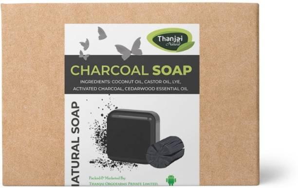 THANJAI NATURAL Charcoal Soap Hand Made 110g (110g X 10) Pure Natural