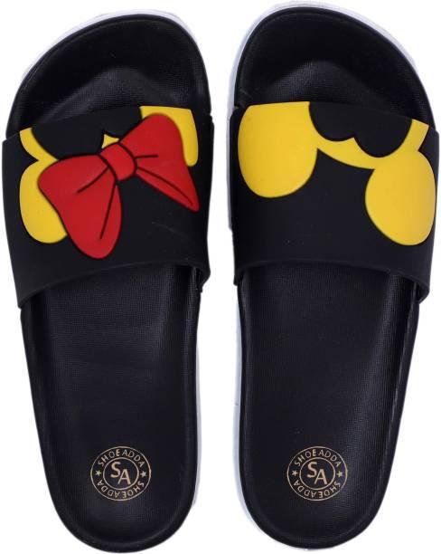 ShoeAdda Black Mickey Mini Slippers   Women Home Slides  Girls Casual Chappals  Bathroom Footwear  Perfect Flipflops For Daily Wear  Walking Slippers Slides Slides