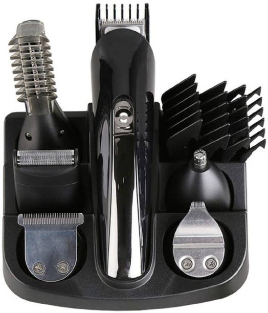 Kemei KM - 600 Professional 11 in 1 Hair Trimmer Clipper Rechargeable Cutting Electric Shaver Hair Clipper Electric Shaver Bread Nose Hair Trimmer Cutters Full Set Family Personal Care Cordless Grooming Kit for Men (Black)  Runtime: 120 min Trimmer for Men & Women