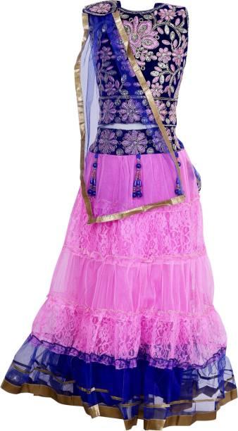 67860fcfe7 Crazeis Girls Lehenga Choli Ethnic Wear Embroidered Lehenga, Choli and  Dupatta Set