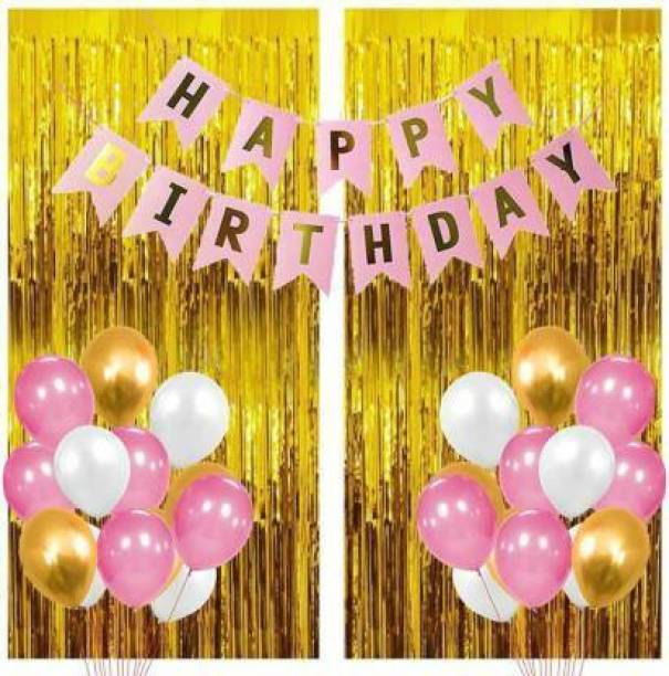 SQE Solid 1 Pink Happy Birthday Banner+2 Pc Gold Fringe Curtain+30 Pcs Mettalic Balloon Balloon