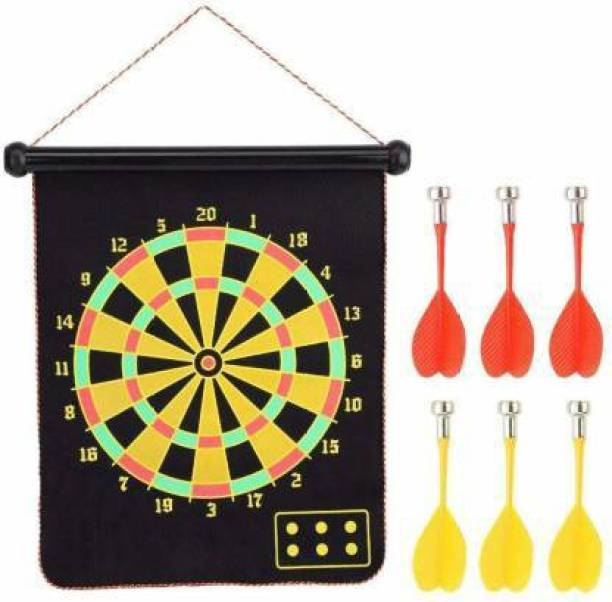 FITNACE DOUBLE FACED MAGNETIC DART BOARD 15 INCH PORTABLE WITH 6 DARTS Soft Tip Dart