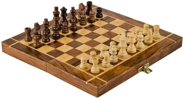 vnh Wooden Chess Set for Kids & Adults-Folding Chess Board 12 cm Chess Board