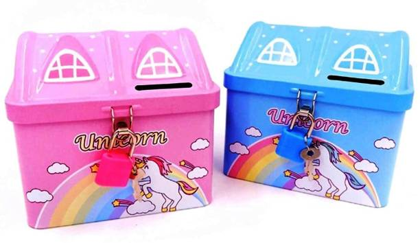 Crazycute Unicorn Metal House Design ( Pack of 2 Piggy Bank) Unicorn Piggy Bank Unicorn Piggy Bank for Girls with Lock Unicorn Piggy Bank for Girls Stylish Money bank Coin Bank