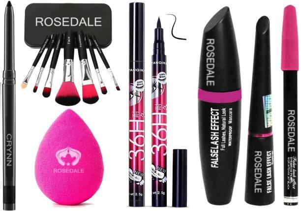 Crynn Smudge Proof HDA64 Makeup Beauty Kajal & Rosedale Set of 7 Makeup Brush With Powder Blender Puff & Yanqina 36H Deep Black Eyeliner & Rosedale 3in1 Eyeliner , Mascara , Eyebrow Pencil