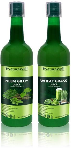 Naturewell Premium Neem Giloy Tulsi/Wheat Grass for Building Immunity and Digestion Booster /Pack of 2