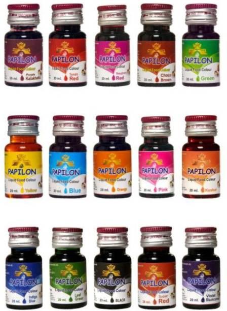 PAPILON Liquid Food Colour 20ml x 15 bottles ( ) Multicolor