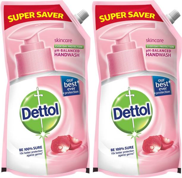 DETTOL Skincare Germ Protection Handwash Liquid Soap Refill, Buy1Get1 Hand Wash Pouch