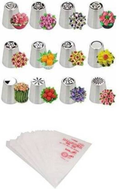 ALAMDAAR Combo of 12pcs Stainless Steel Russian Piping Nozzles with 100 pcs Icing Piping Bags Kit for Cake Decoration Steel Multi-opening Icing Nozzle