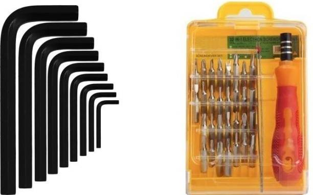 vyas Ratchet screwdriver st 32pcs jackly set hand tool Ratchet Screwdriver Set And 9 pcs Hexa allen key L type Wrench set Hand Tool Kit