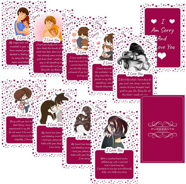 purezento Set of 10 I Miss You and I Love You Surprise Greeting Card Greeting Card