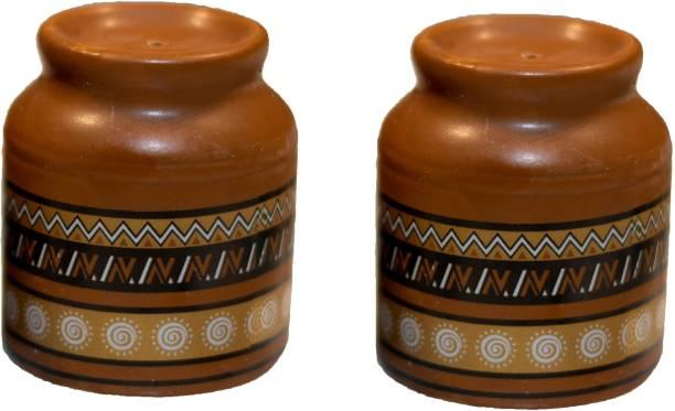 Kitko Ceramic Terra Cotta Salt and Pepper Shaker Dining Table Sprinkler Container with Ethnic Patterns 2 Piece Salt & Pepper Set