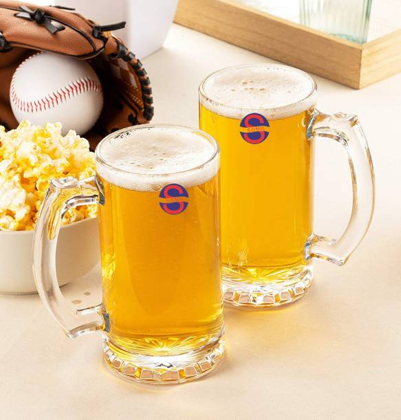 Somil (Pack of 2) Funky Stylish Transparent Beer Mug With Handle, Glass, Clear, 500 ml Set of 2-Kt08 Glass Set