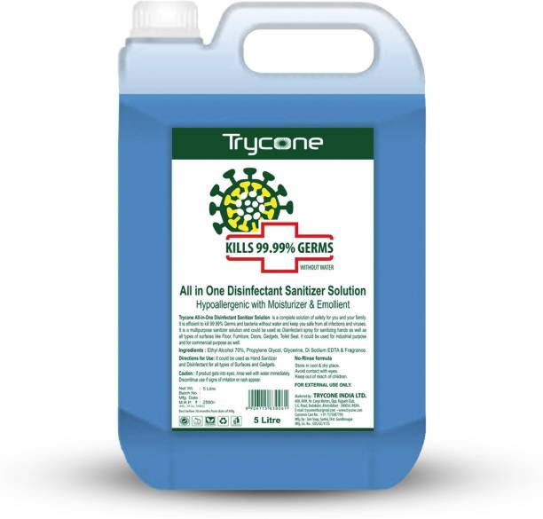Trycone All in One Instant Disinfectant Sanitizer Solution (Kills 99.99% Germs), Hypoallergenic with Moisturizer & Emollient - 5 Litre Hand Sanitizer Can