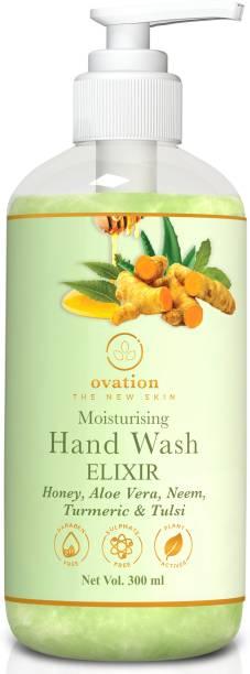 Ovation The New Skin   Hand Wash Moisturising Elixir- Honey,Aloe Vera,Neem,Turmeic,Tulsi   Free of Parabens, Sulphate, Silicone, Mineral Oil   Hand Wash Pump Dispenser