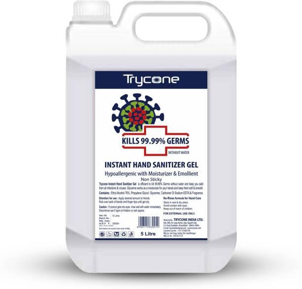 Trycone Instant  Gel (Kills 99.99% Germs), Hypoallergenic with Moisturizer & Emollient - 5 L Hand Sanitizer Bottle