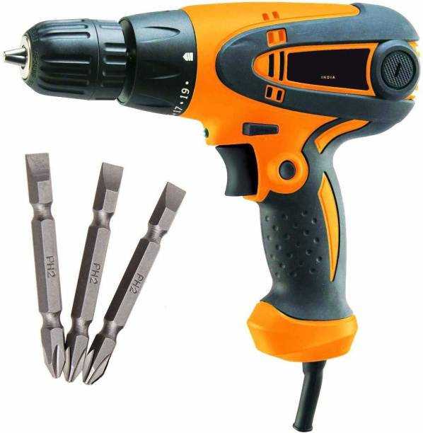 MLD 10mm Forward/Reverse Function Powerful Screwdriver 400W 750RPM Cum Drill Machine And Free Plus and Minus bits Magnetic SCRE_BIT01 Collated Screw Gun