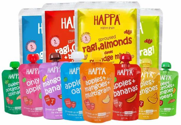 Happa Organic Baby Food - Super Saver Trial Pack, baby food, anti-bacterial neem wood comb for infants, kids&baby Cereal
