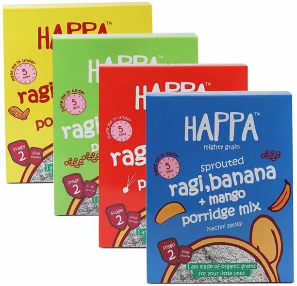 Happa porridge combo(Sprouted Ragi + Almond Dates + Carrot Beetroot + Mango Banana) Porridg Mix Cereal, baby food, anti-bacterial neem wood comb for infants, kids&baby Cereal