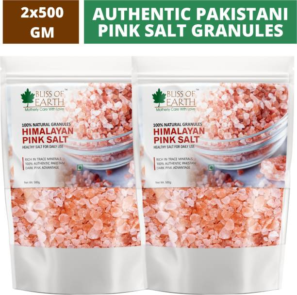 Bliss of Earth 2x500 gm Himalayan Pink Salt Granules of Pakistan For Weight Loss & Daily Cooking