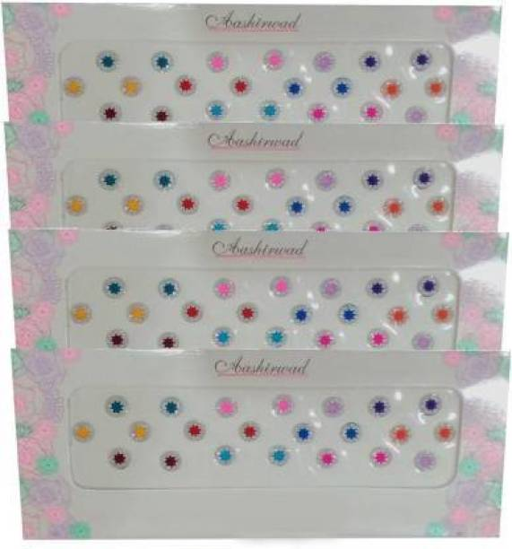 Deepali parlour store Multi colour Bindi with Glitter for women 4 packets Forehead Multicolor Bindis (Stick-on) Forehead Multicolor Bindis