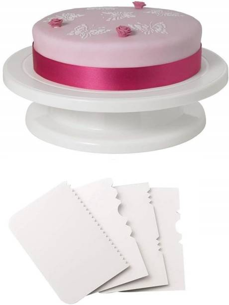 Yellow Leaf Products Cake turn Table - 28 cm + 4 pc fondant combo Baking Comb