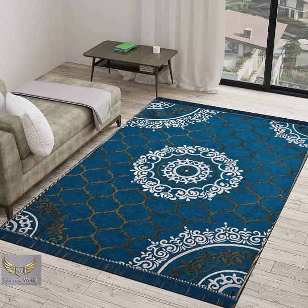 Sparrow world Blue Chenille Carpet