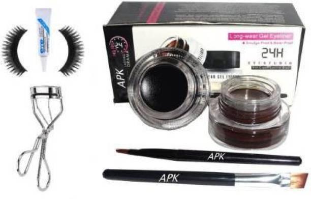eaglemart Eyeliner Black & Brown,1 False Eyelash,1 Glue,1 Eyelash Curler