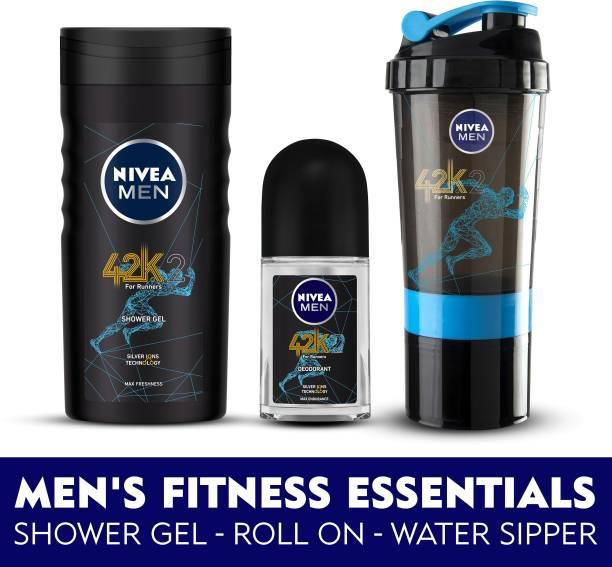 NIVEA MEN 42k Combo, Shower Gel 250 ml, Roll On 50 ml & FREE Water Sipper