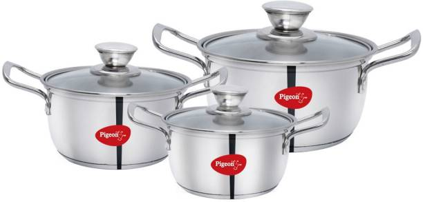 Pigeon Special Stainless Steel Conical Casserole 3 Set(16 18 20 CM) Induction Bottom Cookware Set