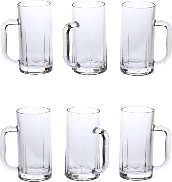 Somil (Pack of 6) New Style Glass Mulipurpose Beer Mug With Handle Set of 6 Glass Set