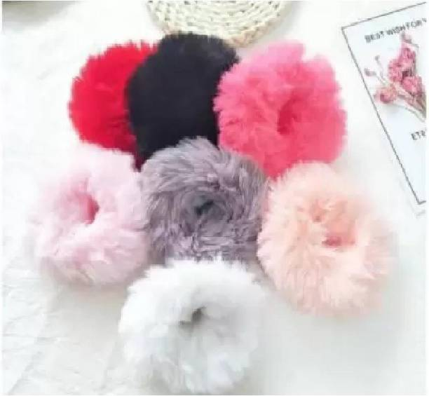 ANSHI CREATION Fur Elastic Fluffy Faux Rope Furry Hair Scrunchies for Girls, PK06 Rubber Band Rubber Band