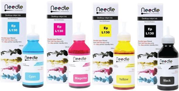 Needle Refill Ink for Epson L130 Dye Ink Compatible EcoTank Inkjet Printer Epson L130, L110, L210, L220, L300, L310, L360, L355, L365, L380, L385, L405, L455, L485, L550, L555, L565, L605, L655, L1300 (4*100 ml) Black + Tri Color Combo Pack Ink Bottle