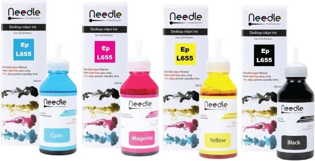 Needle Refill Ink L655 Dye Ink Compatible EcoTank Inkjet Printer Epson L130, L110, L210, L220, L300, L310, L360, L355, L365, L380, L385, L405, L455, L485, L550, L555, L565, L605, L655, L1300 (4*100 ml) Black + Tri Color Combo Pack Ink Bottle