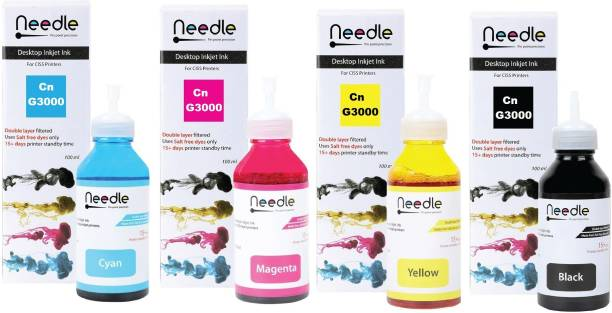 Needle Refill Ink for Canon G3000 Ink Compatible for Canon G1000, G1010, G2000, G2010, G3000, G3010, G4000, G4010 & 6070 Inkjet Printer (4*100 ml) GI-790 Ink Code Black + Tri Color Combo Pack Ink Bottle
