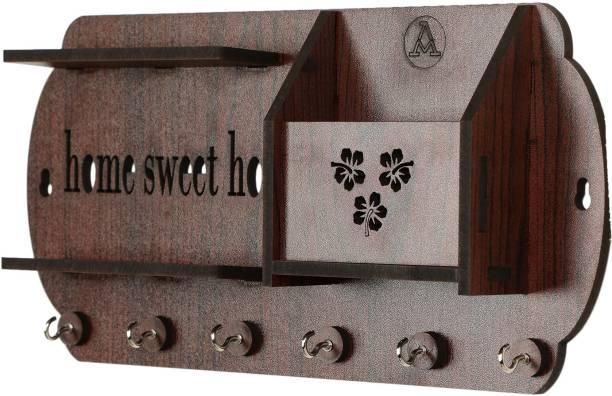 AMTRENDS Wooden key holder nice look flowers design mobil holder duble rak slot Wood Key Holder