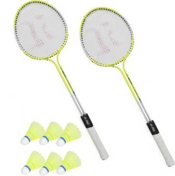 Ostrich Double Shaft Florescent Badminton Racket Pack Of 2 Piece With 6 Piece Plastic Shuttles Badminton Kit
