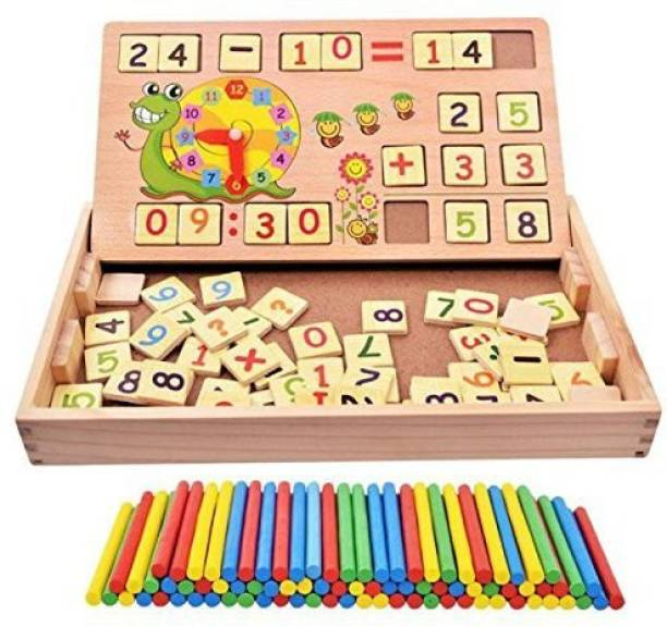 ZZ ZONEX Wooden 2 in 1 Multi Functional Digital Computing Learning Blocks Box with Writing Board ,Sticks, Chalks,Clock Educational Toy for Kids Numbers Learning Toy for Boys|Girls|Children