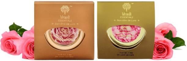 Khadi Essentials Combo of Wild Rose Lip Balm Butter 5gm + Rose Petals Dates Lip Lightening Scrub 15gm for Dry Lips and Lip Lightening Wild Rose, Rose Petal
