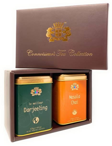 Premiers 2-in-1 Tea Gift Set (Darjeeling Black Tea + Masala Chai Flavoured Tea) PMS Series Unflavoured Masala Tea Festive Gift Box